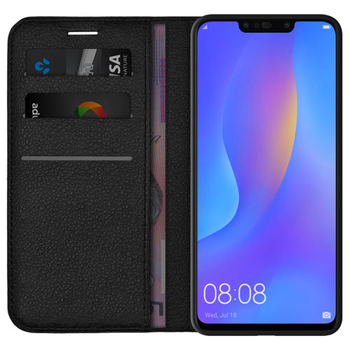 Leather Wallet Case & Card Holder Stand for Huawei Nova 3i - Black